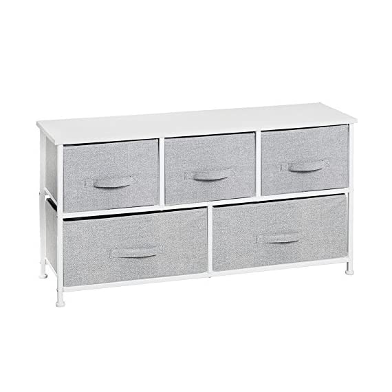 InterDesign Aldo Fabric 5-Drawer Dresser and Storage Organizer Unit for Bedroom, Apartment, Small Living Spaces – Gray - VERSATILE STORAGE SOLUTIONS – Offering two large bins and three smaller ones, this unit can be used as an extra dresser for storing out-of-season clothes, shirts, sweaters, jeans, hats, underwear, bras, blankets, purses, towels and even extra craft supplies or laundry essentials STYLISH FOR ANY ENVIRONMENT – Offers the perfect balance between modern design and function with its neutral gray jute pattern accented by its durable white steel frame PERFECT FOR TIGHT SPACES – Great for adding more storage space in compact living areas like a bedroom, guest room, craft room, hall or entryway - dressers-bedroom-furniture, bedroom-furniture, bedroom - 51rO73obTGL. SS570  -