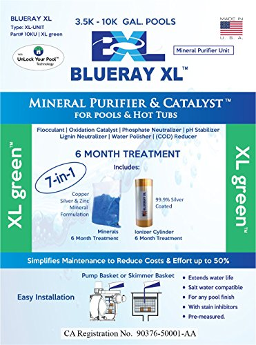 Blueray XL - XL Green   Mineral Purifier & Catalyst for Pools and Hot Tubs (Blue-ray-xl)