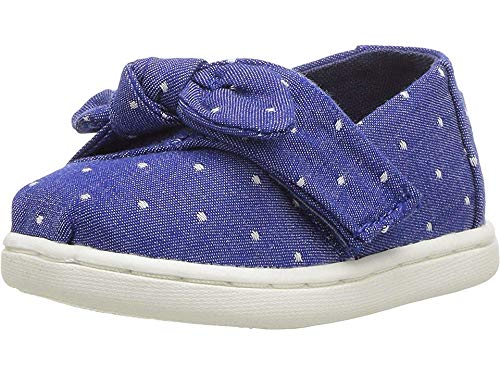 TOMS Kids Baby Girl's Alpargata (Infant/Toddler/Little Kid) Imperial Blue Dot Chambray/Bow 3 M US -