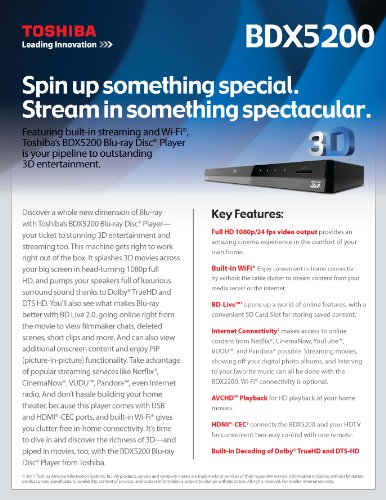 Best Toshiba BDX5200 Wifi-Enabled 3D Blu-ray Disc Player (online)