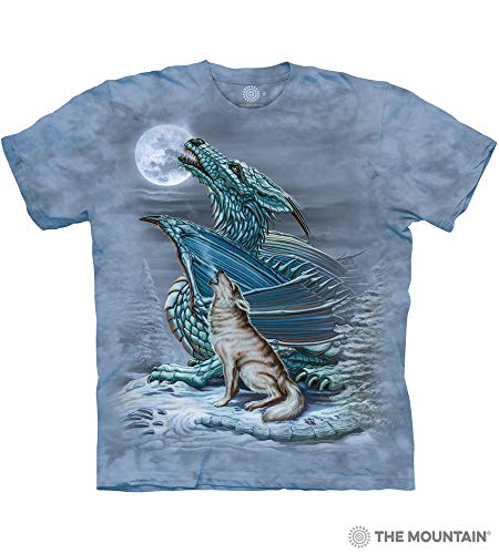 - The Mountain Dragon Wolf Moon Adult T-Shirt, Blue, Medium