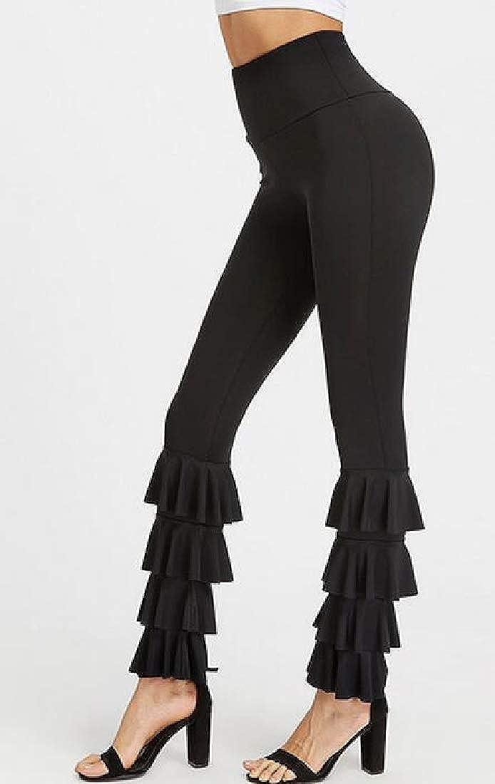 Pandapang Women Stretch Yoga High Rise Solid Bootcut Trousers Pants