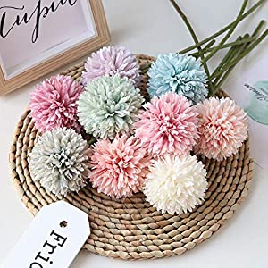 Homyu Artificial Chrysanthemum Ball Flowers Bouquet 10pcs Present for Important People Glorious Moral for Home Office Coffee House Parties and Wedding 5