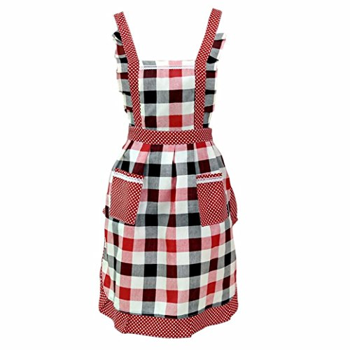 FENZL Women plaid style Bib Apron,with Convenient Pocket Durable Kitchen and Cooking Apron (Red) -
