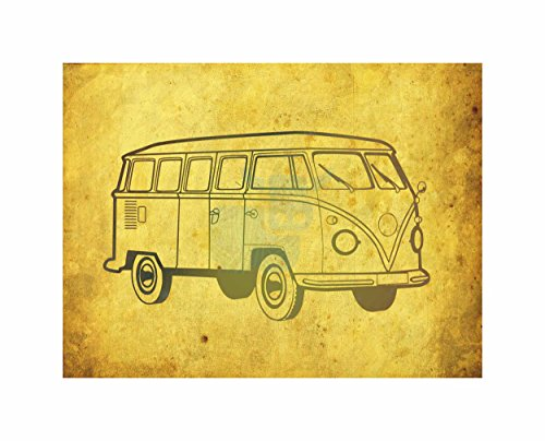 Wee Blue Coo Hippy Van Grunge Hippie Camper Art Canvas Print (Hippy Van)
