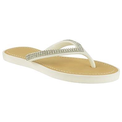 Womens Diamante Flip Flops Jelly Sandals Summer Beach Toe Post Shoes Size