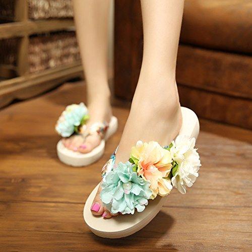 Butterme Frauen Floral Sommer Satin Keil Flip Flops mit Blume DIY schmücken böhmische Sandalen Strand Schuhe Sandale Beige
