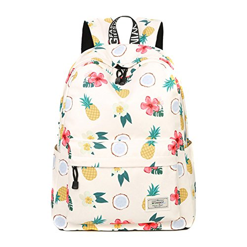 Fashionable Lightweight Pineapple Pattern Canvas Shoulder School Bag Cute Casual Backpack Rucksack School Daypack for Students