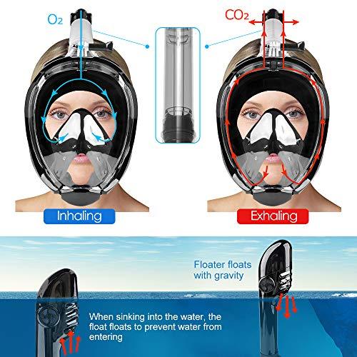 Eastshining Máscara de Buceo,Máscara de Esnórquel Facial Completa,180 °Anti-vaho Anti-Fuga Máscara Snorkel con Soporte de Cámara para Adultos,Jóvenes,Niños ...