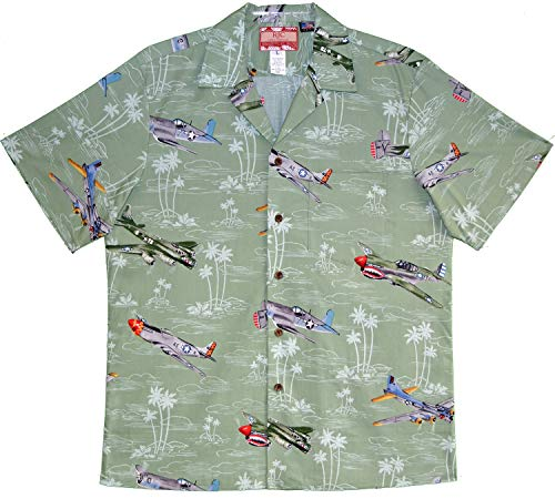- RJC Men's USA Island Airplane Shirt, Sage, L