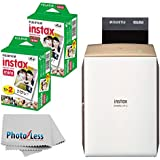 NEW Fujifilm instax SHARE Smartphone Printer SP-2 (Gold) + Fujifilm Instax Mini Twin Pack Instant Film (40 Shots) + Photo4Less Cleaning Cloth + Filming Bundle - International Version (No Warranty)