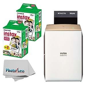 NEW Fujifilm instax SHARE Smartphone Printer SP-2 (Gold) + Fujifilm Instax Mini Twin Pack Instant Film (40 Shots) + Photo4Less Cleaning Cloth + Filming Bundle - International Version (No Warranty)