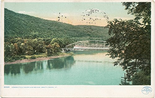 Historic Pictoric Postcard Print | Connecticut River and Bridge, Brattleboro, Vt, 1898 | Vintage Fine ()