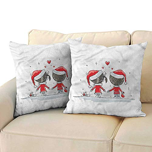 WinfreyDecor Christmas Personalized Pillowcase Kids Santa Costumes with Hidden Zipper W17 x L17 -