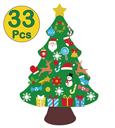 jollylife 3ft DIY Felt Christmas Tree Set - Xmas Decorations Wall Hanging 32 Ornaments Kids Gifts Party Supplies (Christmas Crafts Tree Decoration)