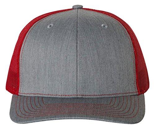 Richardson 112 Heather Grey/Red Mesh Back Trucker Cap Snapback Hat by Richardson (Image #1)