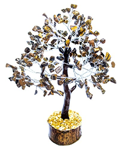 (Crocon Natural Healing Gemstone Crystal Bonsai Fortune Money Tree for Good Luck, Wealth & Prosperity Spiritual Gift Size 10-12 Inch (Tiger Eye (Silver Wire)))