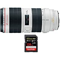 Canon EF 70-200mm f/2.8L IS II USM Telephoto Zoom Lens EOS DSLR Cameras (2751B002) with Sandisk Extreme PRO SDXC 128GB UHS-1 Memory Card, Up to 95/90MB/s Read/Write Speed