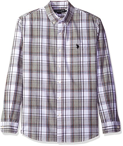 U.S. Polo Assn. Mens Long Sleeve Poplin Large Plaid Sport Shirt