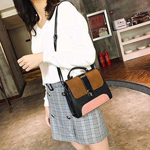 Bag Shoulder Patchwork Brown Bags PU Bag Vintage Buckle Handbags Ladies Leather Women Crossbody 4nUqdnB