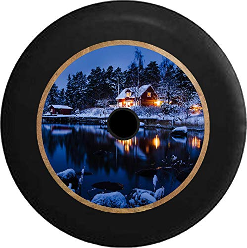 Pike Outdoors JL Series Spare Tire Cover Backup Camera Hole Full Color Lake Cottage in The Evening Winter Scene Black 32 in ()