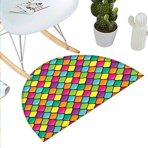 Doormat Stained Glass Inspired Pattern in Lively Colors and Black Partitions Waves Curves Halfmoon doormats H 51.1