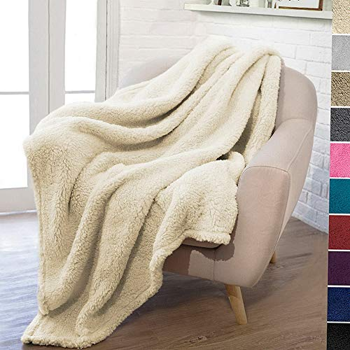 (florance jones Plush Fuzzy Sherpa Throw Blanket for Couch Sofa Bed Microfiber Polyester   Model THRW - 481   60& X 80& Twin)