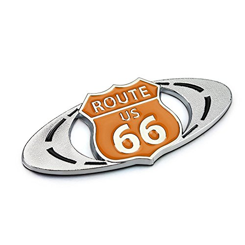 Dsycar 1Pcs 3D Metal ROUTE US 66 Car Side Fender Rear Trunk Emblem Badge Sticker Decals for Universal Cars Motorcycle Car Styling