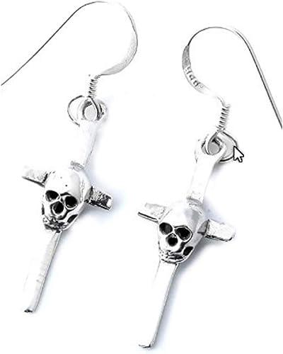 3//4 inch Sterling Silver Cross French Wire Earrings