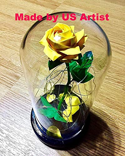 (Handmade Disney Beauty and the Beast Enchanted Rose origami in Glass Dome replica)