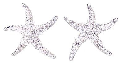 c7c6c5ce9aec Pendientes Joyas Pendientes Estrella de mar en plata circonitas brillantes  en plata  Amazon.es  Joyería