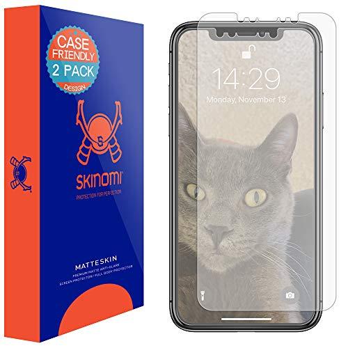 Apple iPhone Xs Max Screen Protector (Case Compatible)(6.5)(2-Pack), Skinomi MatteSkin Full Coverage Screen Protector for Apple iPhone Xs Max Anti-Glare and Bubble-Free Shield