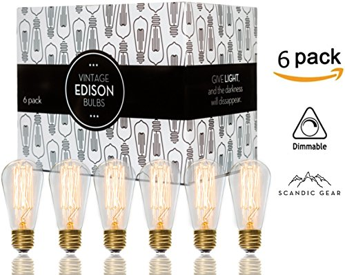 6 Light 60w Pendant (Edison bulbs - 6 pack of 60 watt Filament Vintage Incandescent Light bulb E26 E27 ST64)