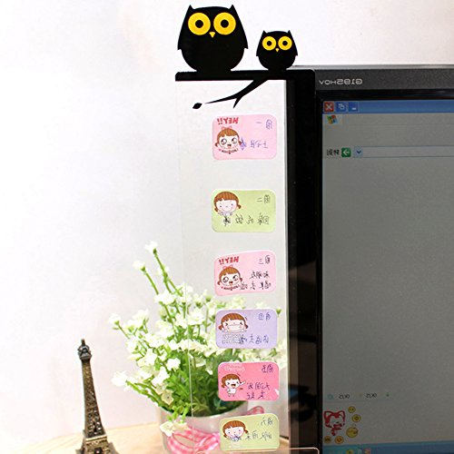 Side Panel Sticky Cartoon Memo Pad Transparent Message Boards Sticky Notes Pad, for Any Smooth Surface-Owl Left/Right(Owl Left) (Any Office Decor)