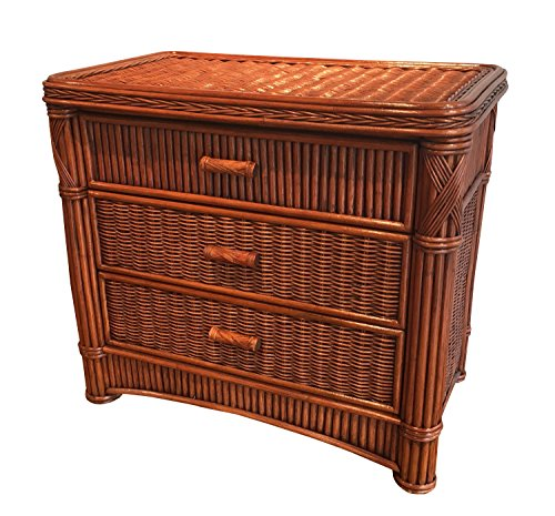 Wicker Paradise GQN103 Barbados Three Drawer Rattan Chest, Large
