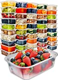 Prep Naturals Food Storage Containers with Lids (50 Pack, 25 Ounce) - Food Containers Meal Prep Plastic Containers with Lids Food Prep Containers Deli Containers with Lids Freezer Containers with Lids