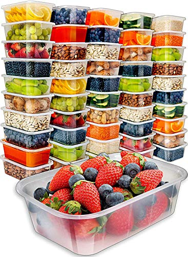 (Prep Naturals Food Storage Containers with Lids [50pk,25oz] - Food Containers Meal Prep Plastic Containers with Lids Food Prep Containers Deli Containers with Lids Freezer Containers with lids)
