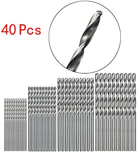 GONGting 40pcs High Speed Steel Titanium Twist Drill Bit Set, HSS Drill Bits Set for Wood Plastic Aluminum Copper Steel (Silver)