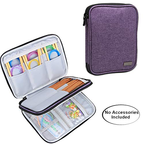 (Luxja Knitting Needles Case(up to 8 Inches), Travel Organizer Storage Bag for Circular Needles, 8 Inches Knitting Needles and Other Accessories(NO Accessories Included), Purple )