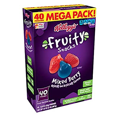 Kellogg's Fruity Snacks, Mixed Berry, Gluten Free, Fat Free, 32 oz (40 Pouches)