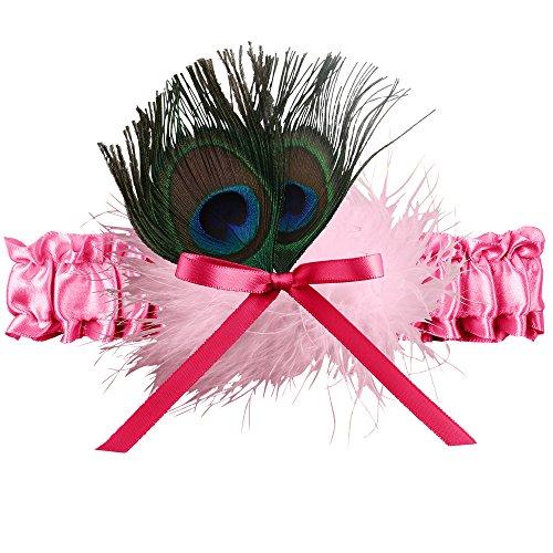 Ivy Lane Design Katy Marabou Garter with Peacock Feather, Fuchsia