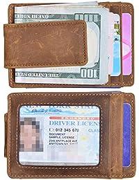 Money Clip Slim Wallet Thin Front Pocket Wallet Genuine Leather RFID Blocking
