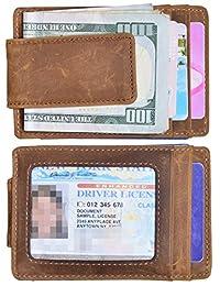Easyoulife Mens Money Clip Wallet Genuine Leather RFID Blocking Slim Front Pocket Wallet Strong Magnet (Small Brown)