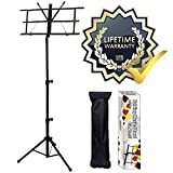 GLEAM Music Stand - Bold Pipe Folding Sheet Music Holder with Carrying Bag