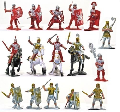 Roman Infantry and Auxiliary Painted Figure Set 1/32 Scale 16 Pieces with Horses Marx Type Army Men by Sunjade (Miniature Toy Soldier)