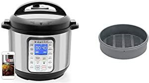 Instant Pot Smart WiFi 8-in-1 Electric Pressure Cooker, Sterilizer, Slow Cooker, Rice Cooker, Steamer, Saute, Yogurt Maker, Cake Maker, 6 Quart, 13 One-Touch Programs & Silicone Steamer Basket
