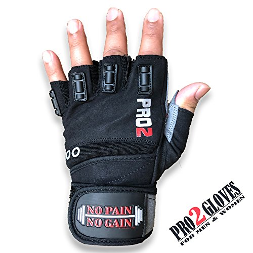 UniteduShop 2018 Pro 2 Weightlifting Gloves Integrated Wrist Wrap Support Fitness, WOD, Gym Workout & Powerlifting -Extra Padding to Avoid Calluses Men & Women