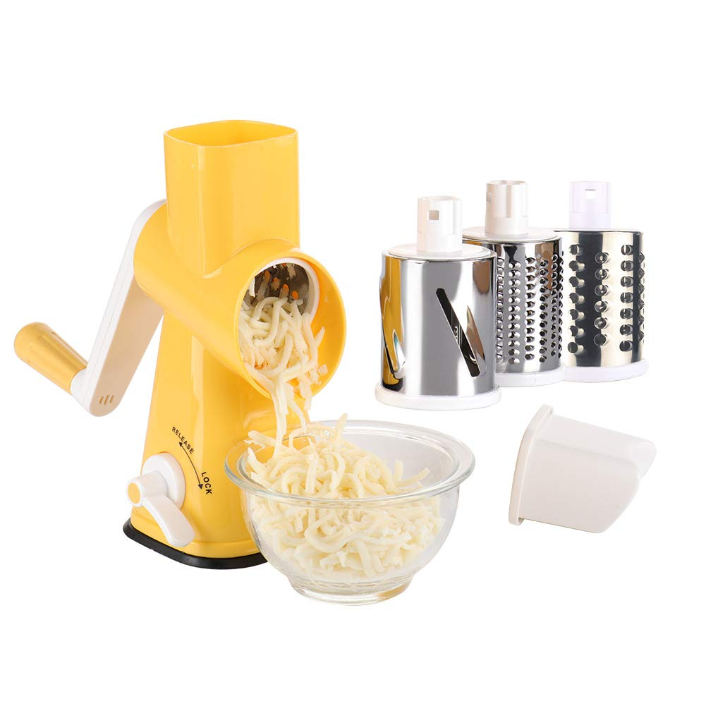 Valuetools Manual Rotary Cheese Grater - Round Mandoline Slicer with 3 Drum Blades (Yellow)