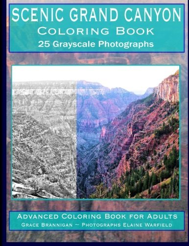 Scenic Grand Canyon Coloring Book: 25 Grayscale Photographs To Color: Advanced Coloring Book For Adults (Adult Coloring Books) (Volume 20)