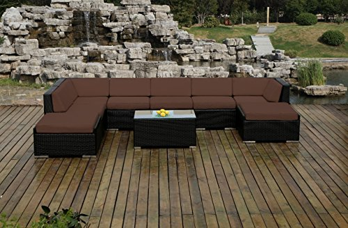 Ohana 9-Piece Outdoor Wicker Patio Furniture Sectional Conversation Set with Weather Resistant Cushions, Brown (PN0902BRN) - Weather Wicker Collection
